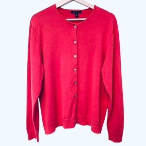Lands End Pink Cardigan Button-Down Sweater XL